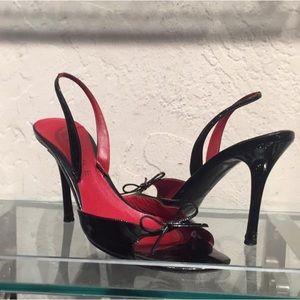 Celine black patent sandal heels